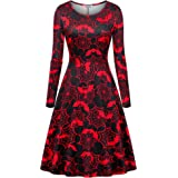 Roshop Womens Choker V-Neck Christmas Pattern Long Sleeve Flare Swing Cocktail Party Dresses