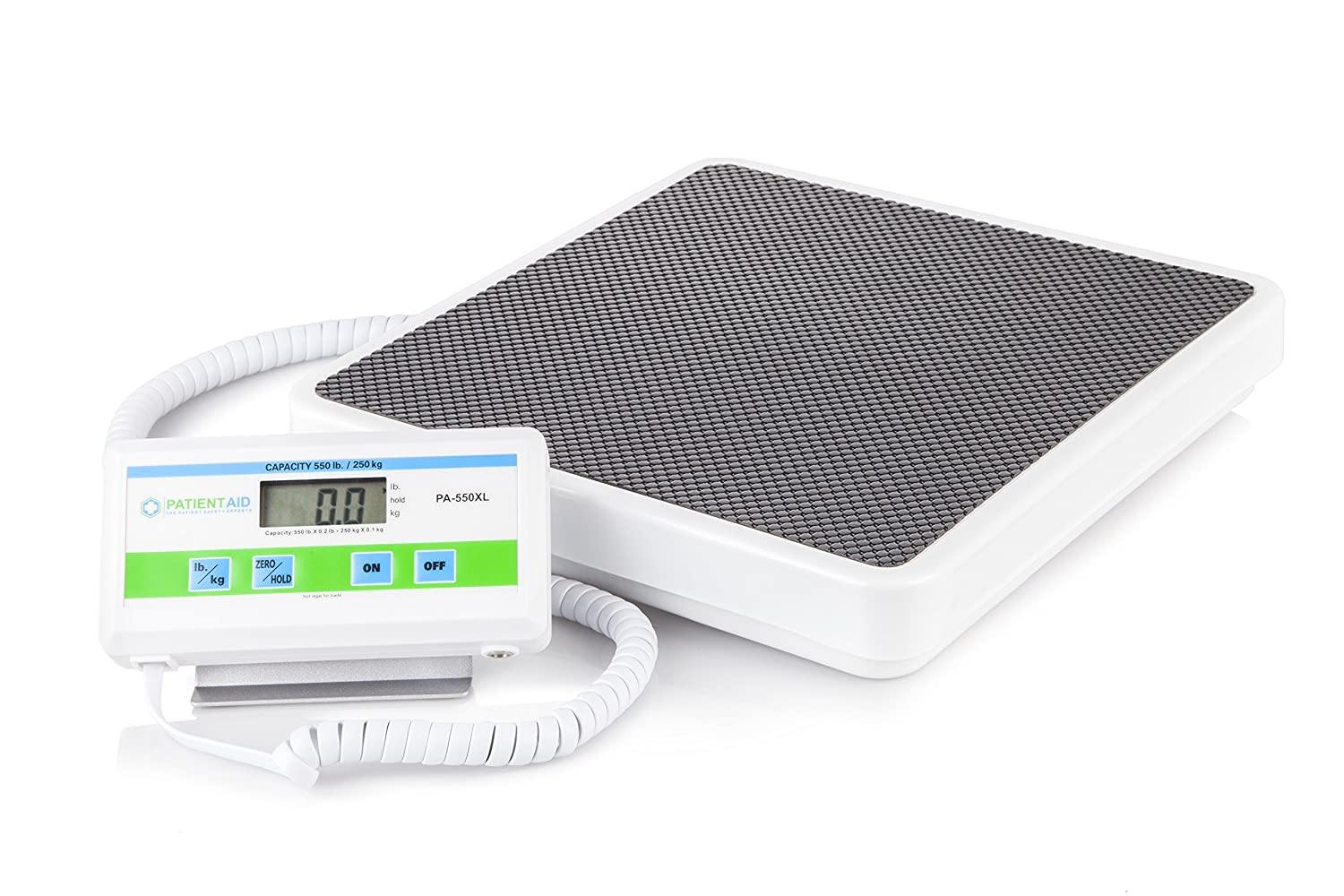 Medical Heavy Weight Floor Scale Digital Easy Read and High Capacity Health, Fitness and Physician Portable Scale with Battery and AC Adapter – Pound and Kilogram Settings – 550 lb 249 Kg Limit