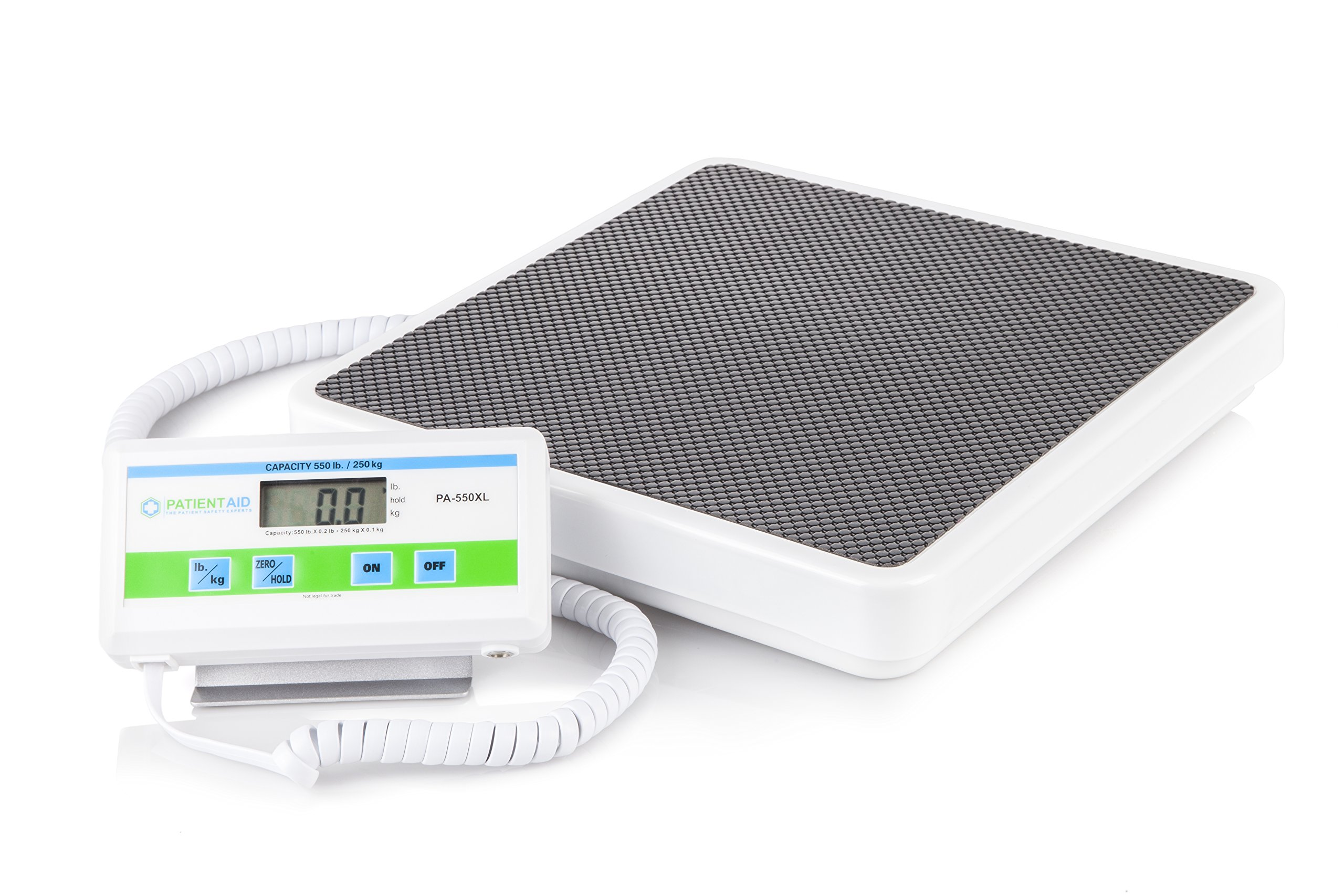 Medical Heavy Weight Floor Scale: Digital Easy Read and High Capacity Health, Fitness and Physician Portable Scale with Battery and AC Adapter - Pound and Kilogram Settings - 550 lb / 249 Kg Limit by Patient Aid
