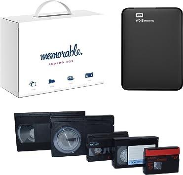 Memorable Servicio de transferencia de vídeo para 1 TB Disco duro externo WD USB 3.0 para VHS 8 mm Hi-8 MiniDV: Amazon.es: Electrónica