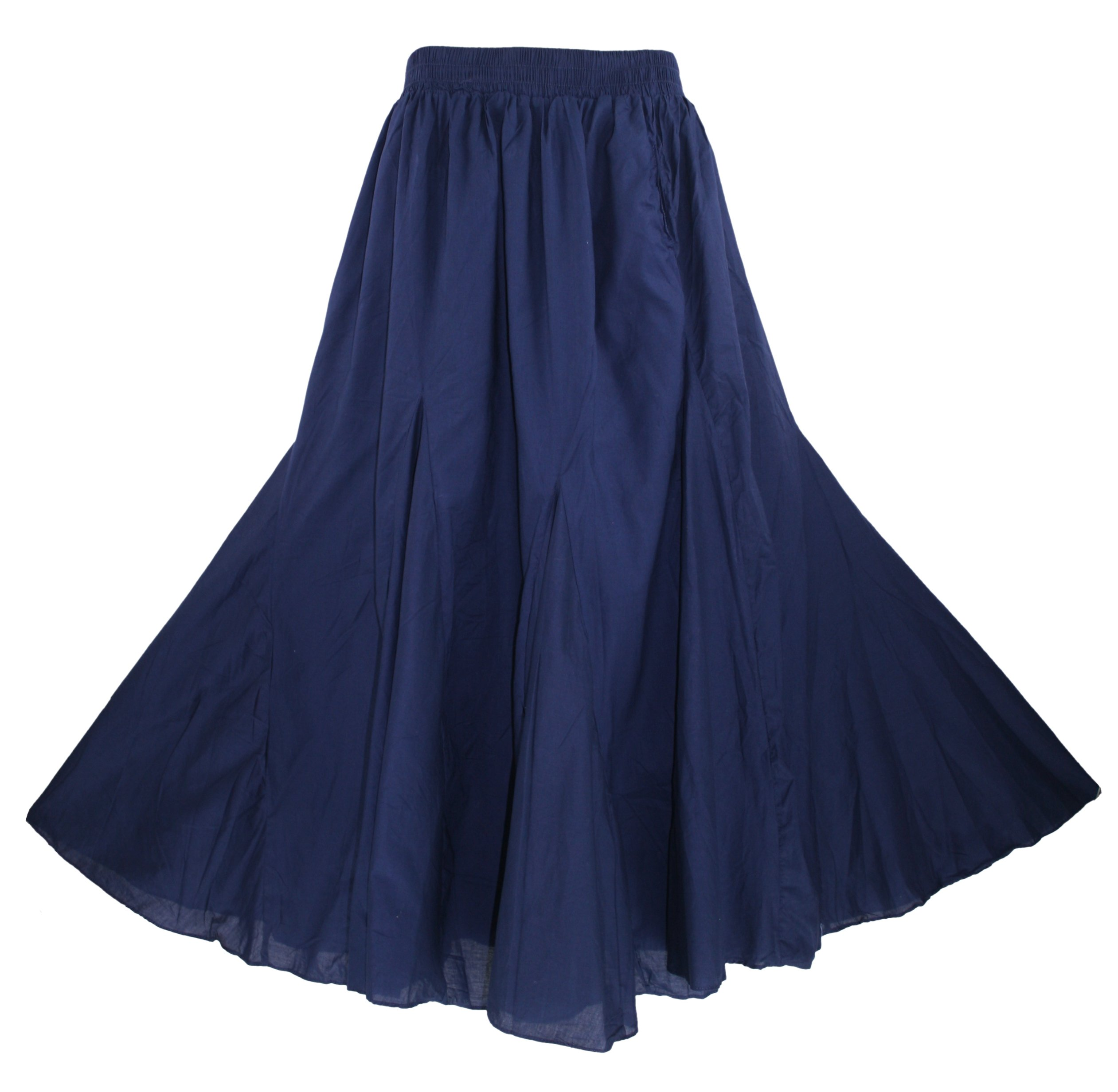 Beautybatik Navy Blue Cotton Boho Gypsy Long Maxi Godet Flare Skirt 3X