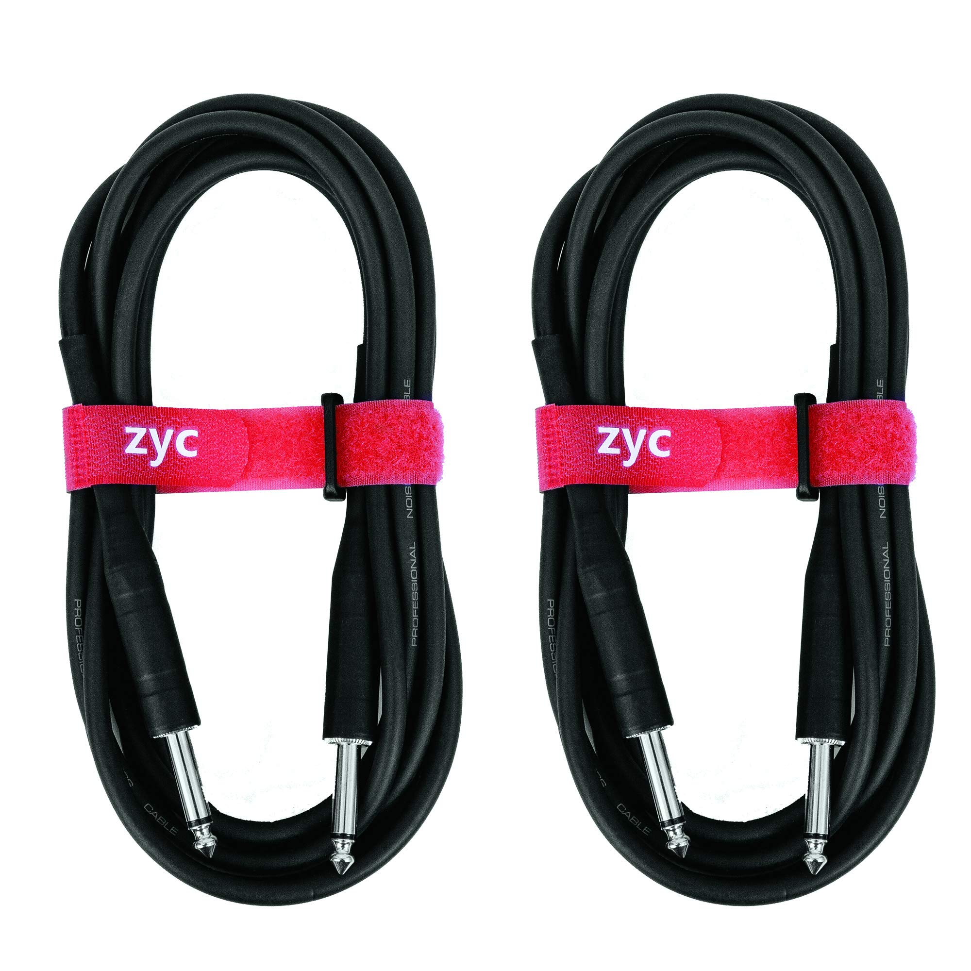 ZYC Guitar Cable 10 Feet 1/4 Inch Male to Male Mono PVC Instrument 1 4 Audio Cable Connectors-2 Pack