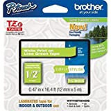 Brother TZeMQG35 - Cinta mate, longitud 5 m/8 m, ancho 1.2 cm, color verde lima/blanco mate