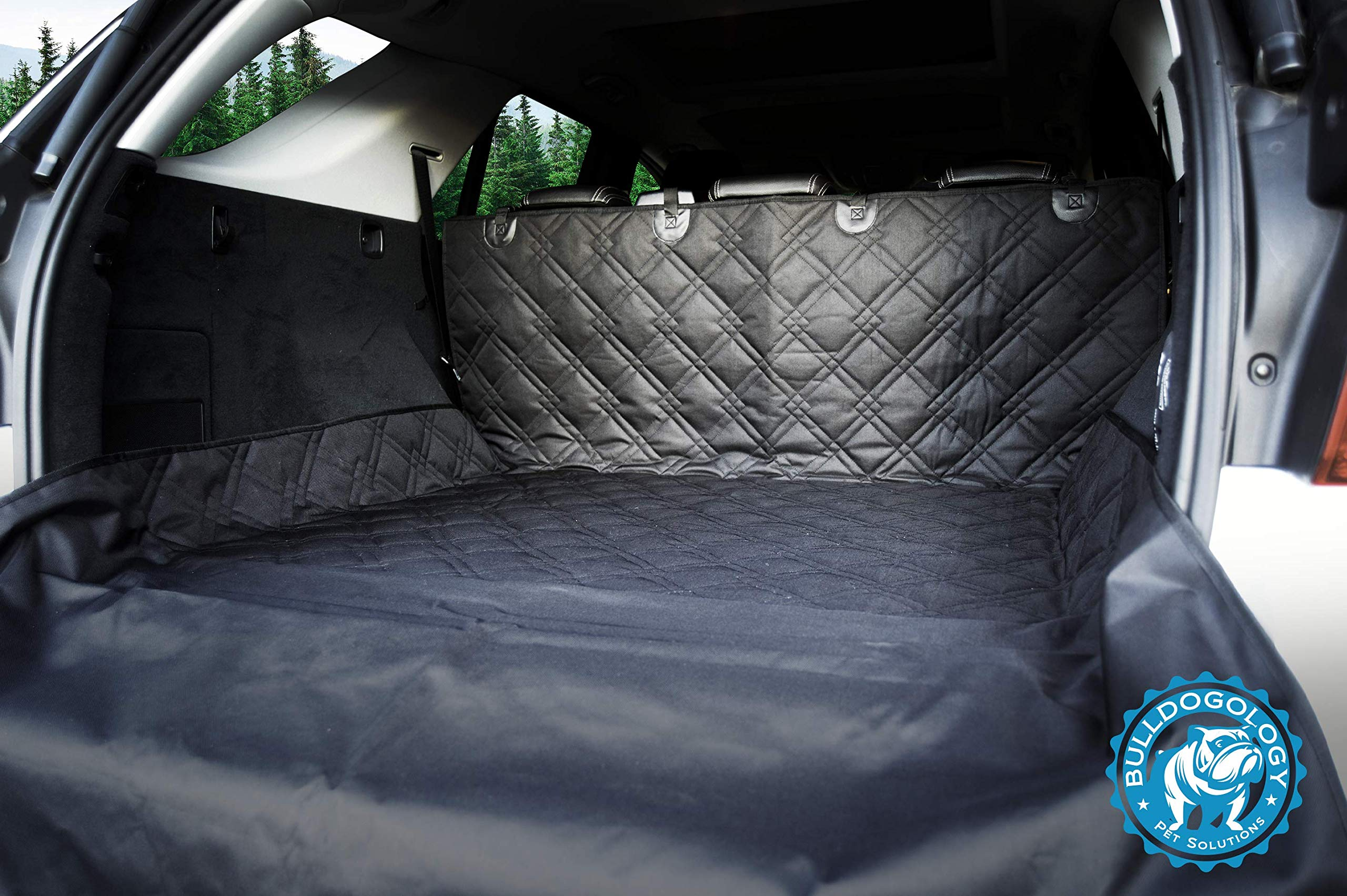 Bulldogology Premium SUV Cargo Liner Seat Cover for Dogs - Heavy Duty, Waterproof, Nonslip Backing, Washable, with Bumper Flap Protection (Large, Black)