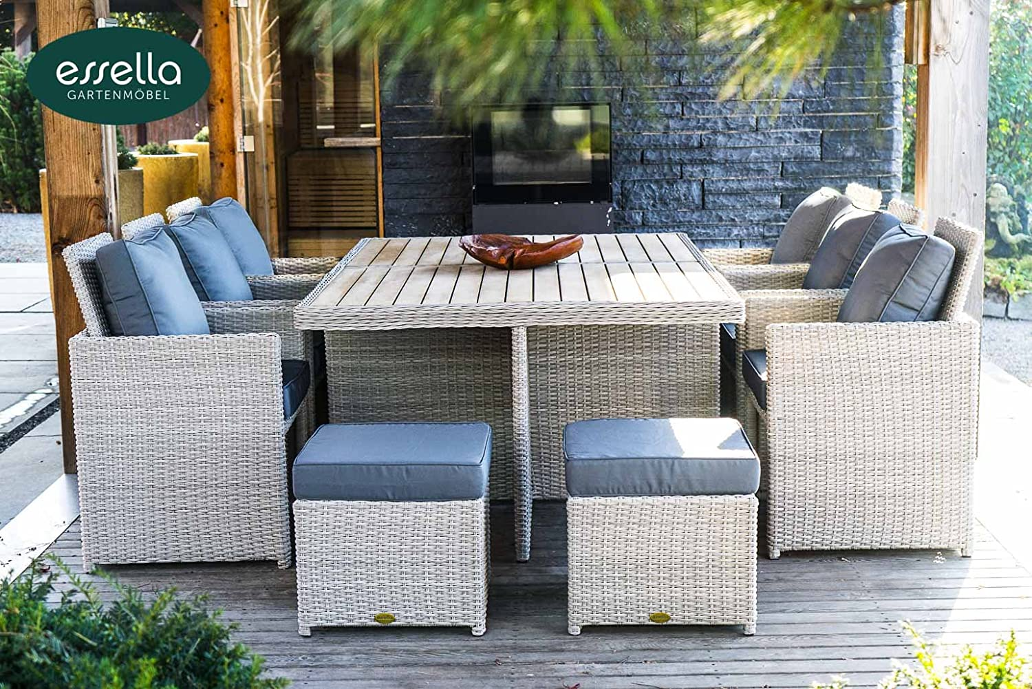 polyrattan sitzgruppe vienna 6 personen polywood rundgeflecht vintage weiss gartenm bel. Black Bedroom Furniture Sets. Home Design Ideas