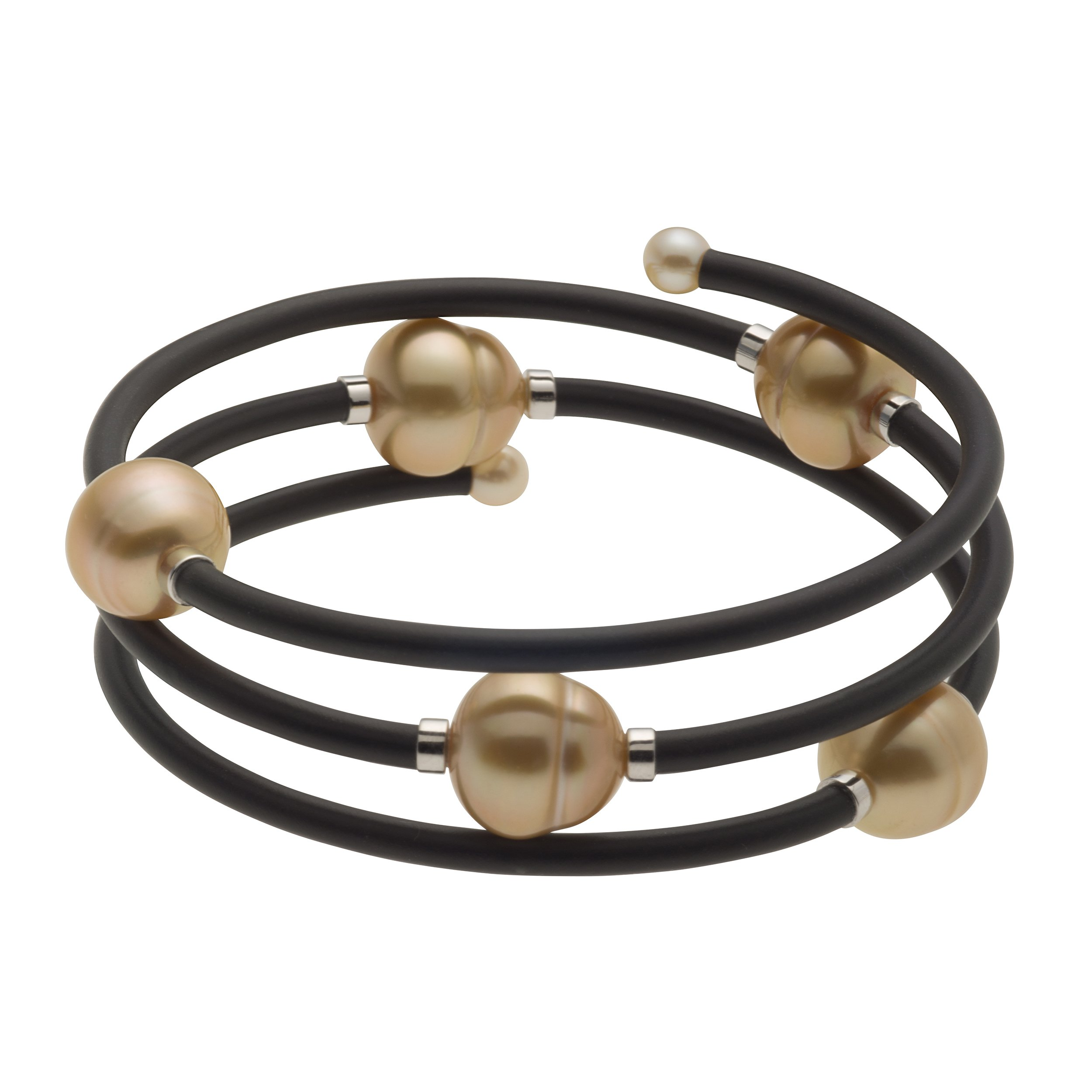 UNIQUE UNISEX GOLDEN SOUTH SEA AND AKOYA CULTURED PEARL WRAP-AROUND BANGLE BRACELET