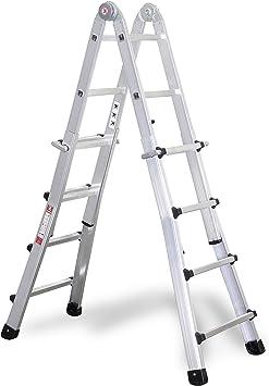 Aluminio – Vario – – Escalera plegable 4 x 4 peldaños: Amazon.es ...