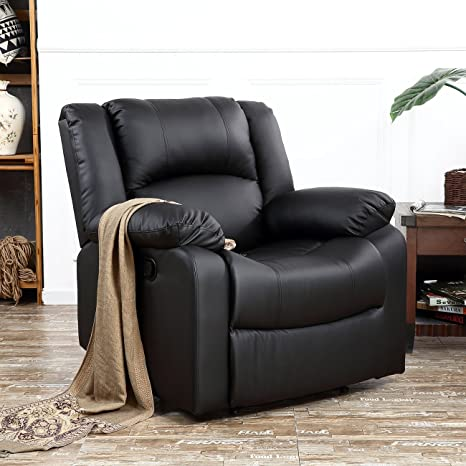 Superb Belleze Padded Recliner Chair Plush Leather Overstuffed Armrest And Back Black Pdpeps Interior Chair Design Pdpepsorg
