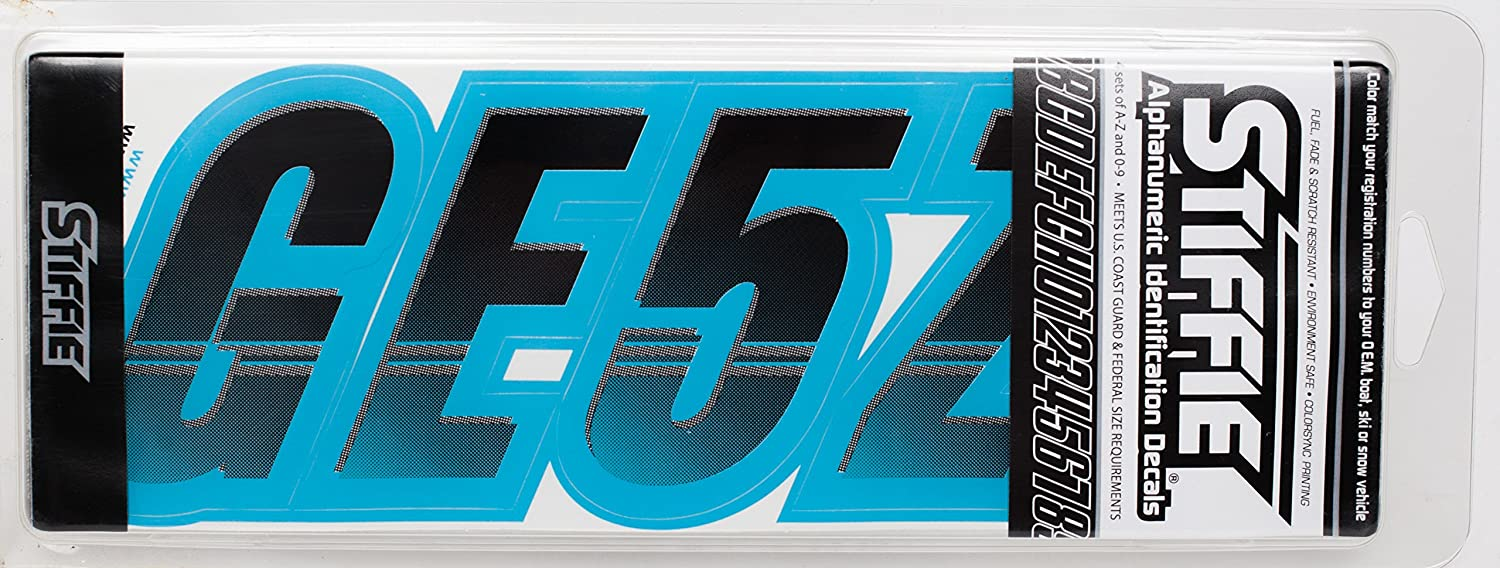 Stiffie Techtron Black//Sky Blue 3 Alpha-Numeric Registration Identification Numbers Stickers Decals for Boats /& Personal Watercraft
