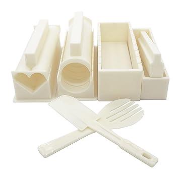 Exzact EX-SM10 Kit de fabricación de Sushi Kit para Preparar el Sushi 10 Piezas/Molde de Rollo de arroz - 5 Formas únicas de Molde - Molde de Rodillo de ...