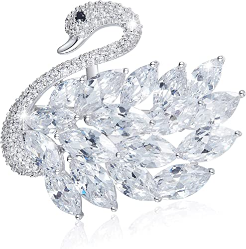 vintage jewelry brooch bird lapel pin for women silver swan brooch with abalone shell