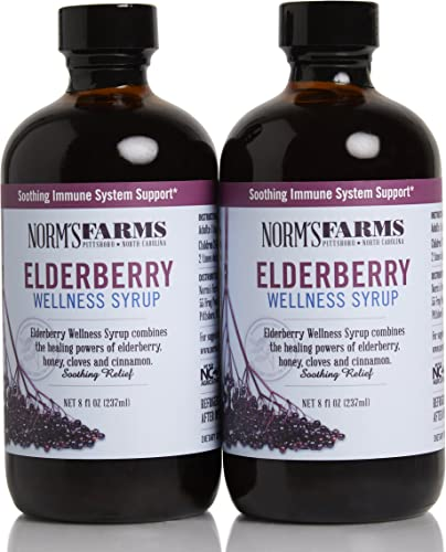 Norm s Farms Black Elderberry Wellness Syrup 8 Ounce Bottle, Pack of 2