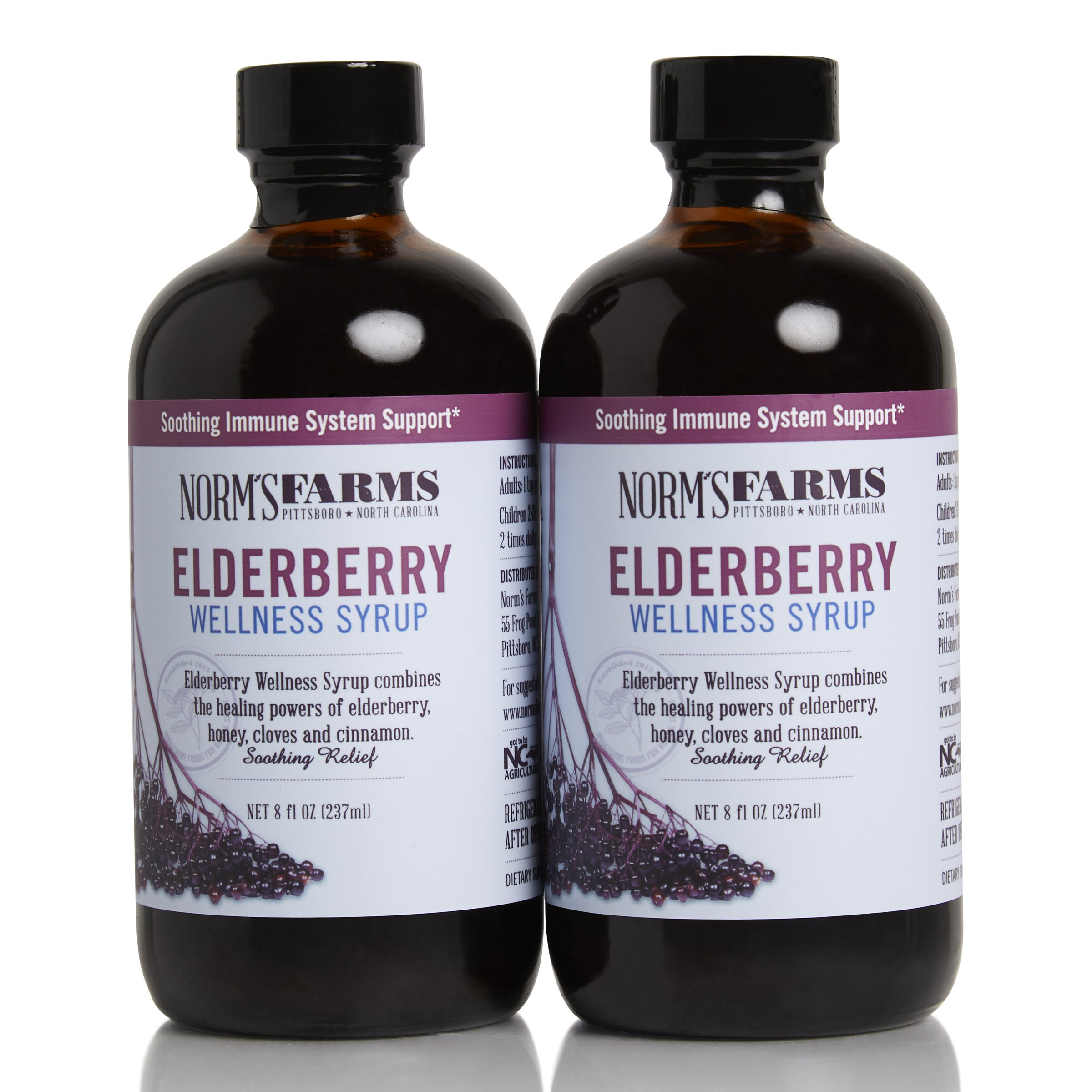 Norm's Farms Black Elderberry Wellness Syrup 8 Ounce Bottle, Pack of 2 by NORM'S FARMS