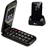 TTfone Nova TT650 Big Button Flip Folding Mobile Phone - Easy and Simple to use (Black)