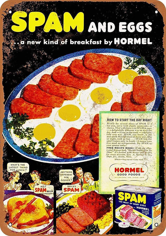 LoMall 8 x 12 Metal Sign - Hormel Spam Eggs - Vintage Wall Decor Art