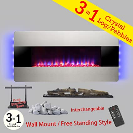 wall electric mount backlight dp with heater control quot gv remote fireplace and