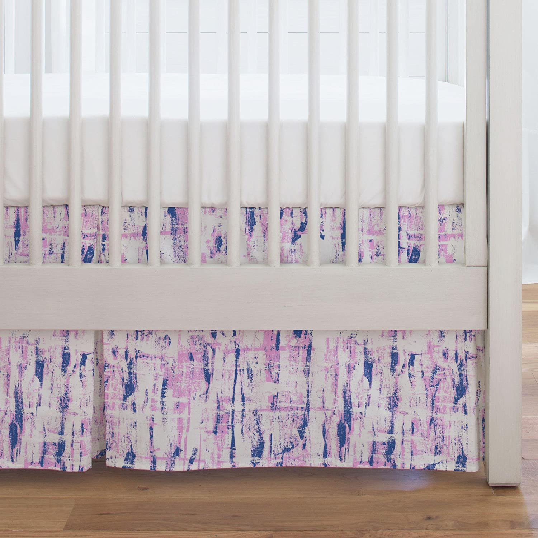 Carousel Designs Coral and Peach Birch Crib Skirt Single-Pleat 17-Inch Length - Organic 100% Cotton Crib Skirt - Made in The USA