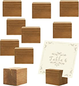 MyGift 10 Piece Rustic Natural Wood Rectangular Table Place Card Holders, Beige
