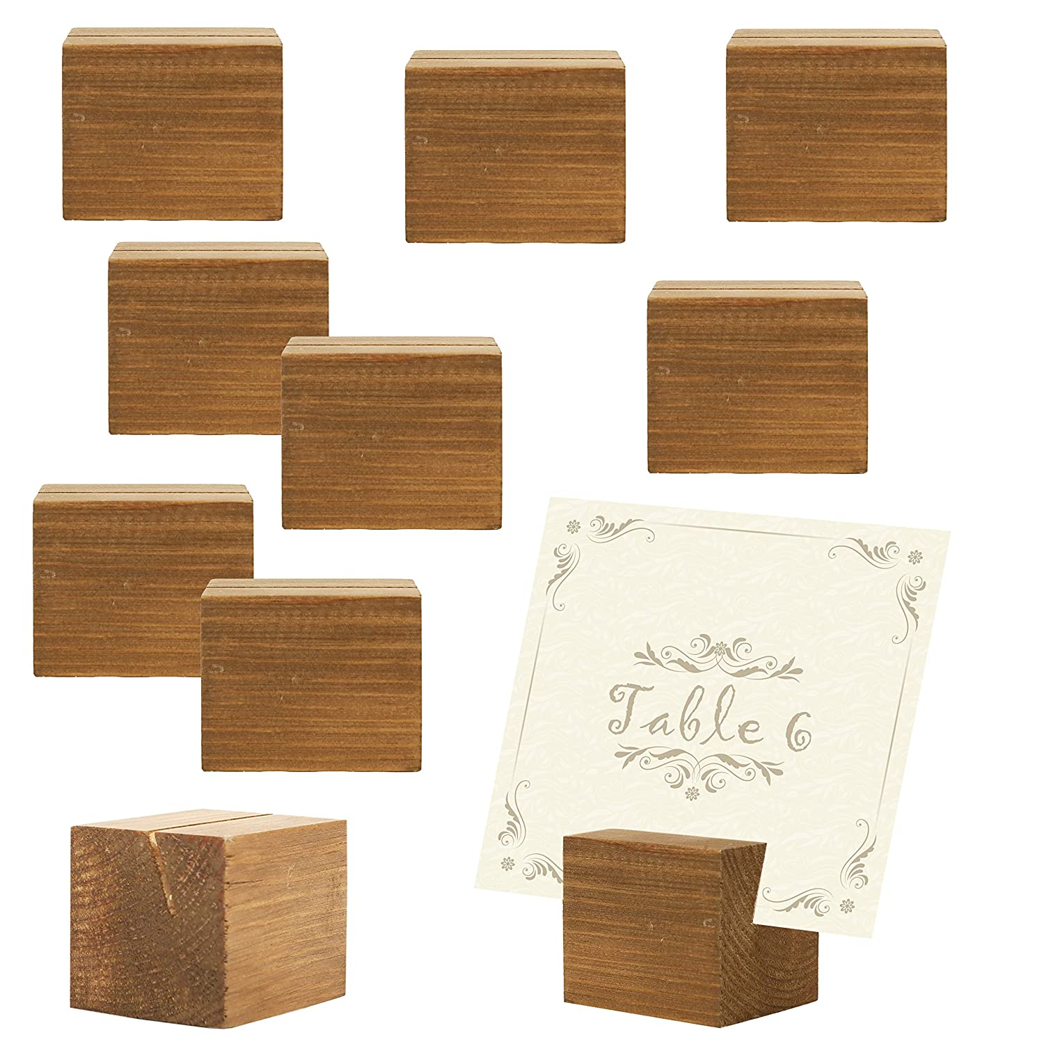 MyGift 10 Piece Rustic Natural Wood Rectangular Table Place Card Holders, Beige SPOMHNK2193