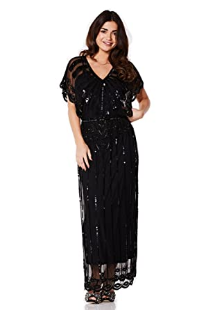Vintage style clothes london  gatsbylady london Angelina Vintage Inspired Maxi Dress in Black at ...