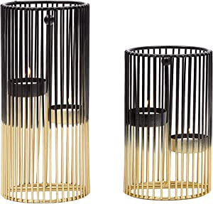 Metal Candle Holders, Modern Home Decor in 2 Sizes (Gold, Black, 2 Pack)