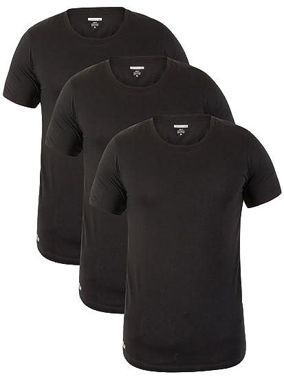 Lacoste Hombre 3 Pack Slim Fit Camisetas, Negro: Amazon.es: Ropa y accesorios