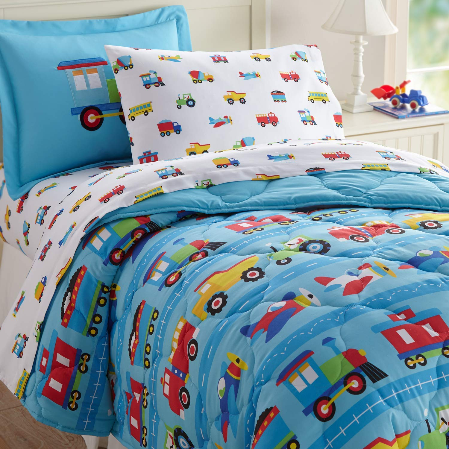 Wildkin 5 Piece Twin Bed-in-A-Bag, 100% Microfiber Bedding Set, Includes Comforter, Flat Sheet, Fitted Sheet, Pillowcase, and Embroidered Sham, Olive Kids Design - Trains, Planes, and Trucks