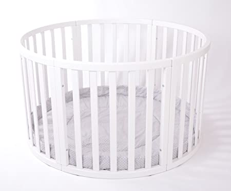 Brand NEW VERY LARGE ROUND Playpen ATLAS Due with Grey Playmat Polka Dots SALE