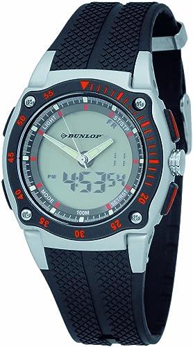 Dunlop DDUN-38-G01 - Reloj digital de caballero de cuarzo con correa de goma negra (alarma, cronómetro, luz) - sumergible a 100 metros: Amazon.es: Relojes