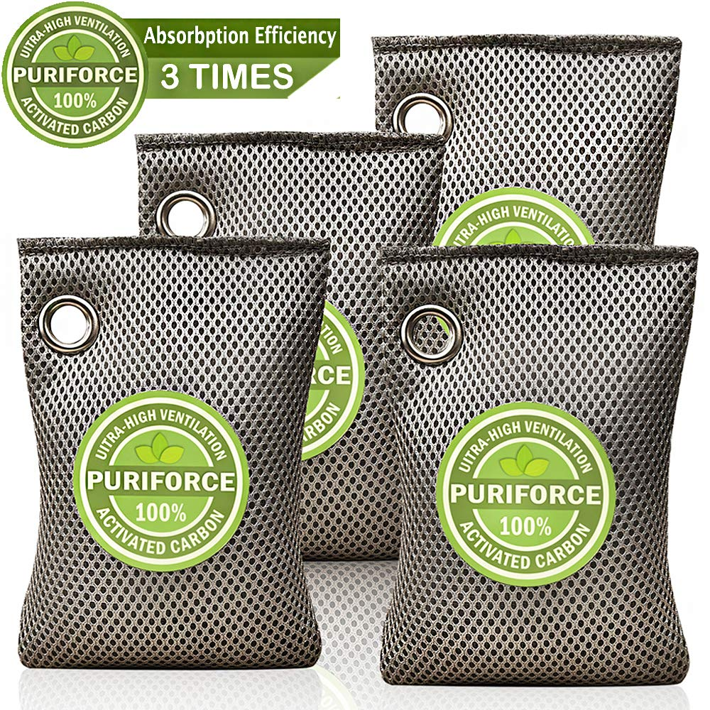 Coconut Charcoal Air Purifying Bag (4 Pack), 3 Times Absorption Efficiency Natural Air Freshener, Activated Charcoal Air Purifier, Odor Absorber, Odor Eliminator for Home, Car, Closet