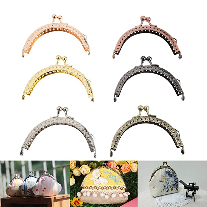 5pcs Metal Flower Coin Purse Bag Craft Frame Kiss Clasp Lock Bronze Tone 8.5cm6.5cm