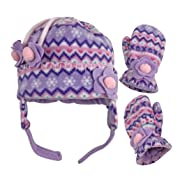N'Ice Caps Little Girls and Baby Fair Isle Fleece Hat and Mittens Set (Light Purple Fair Isle, 18-36 Months)