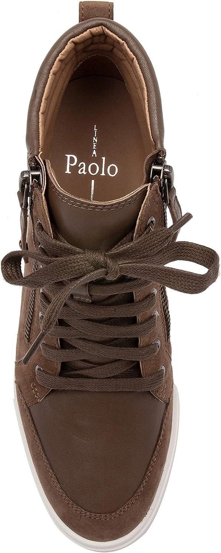 Linea Paolo - Niya - Street Style Leather or Suede Hidden Mid-Height Zipper Wedge Sneaker Mocha Suede/Nappa