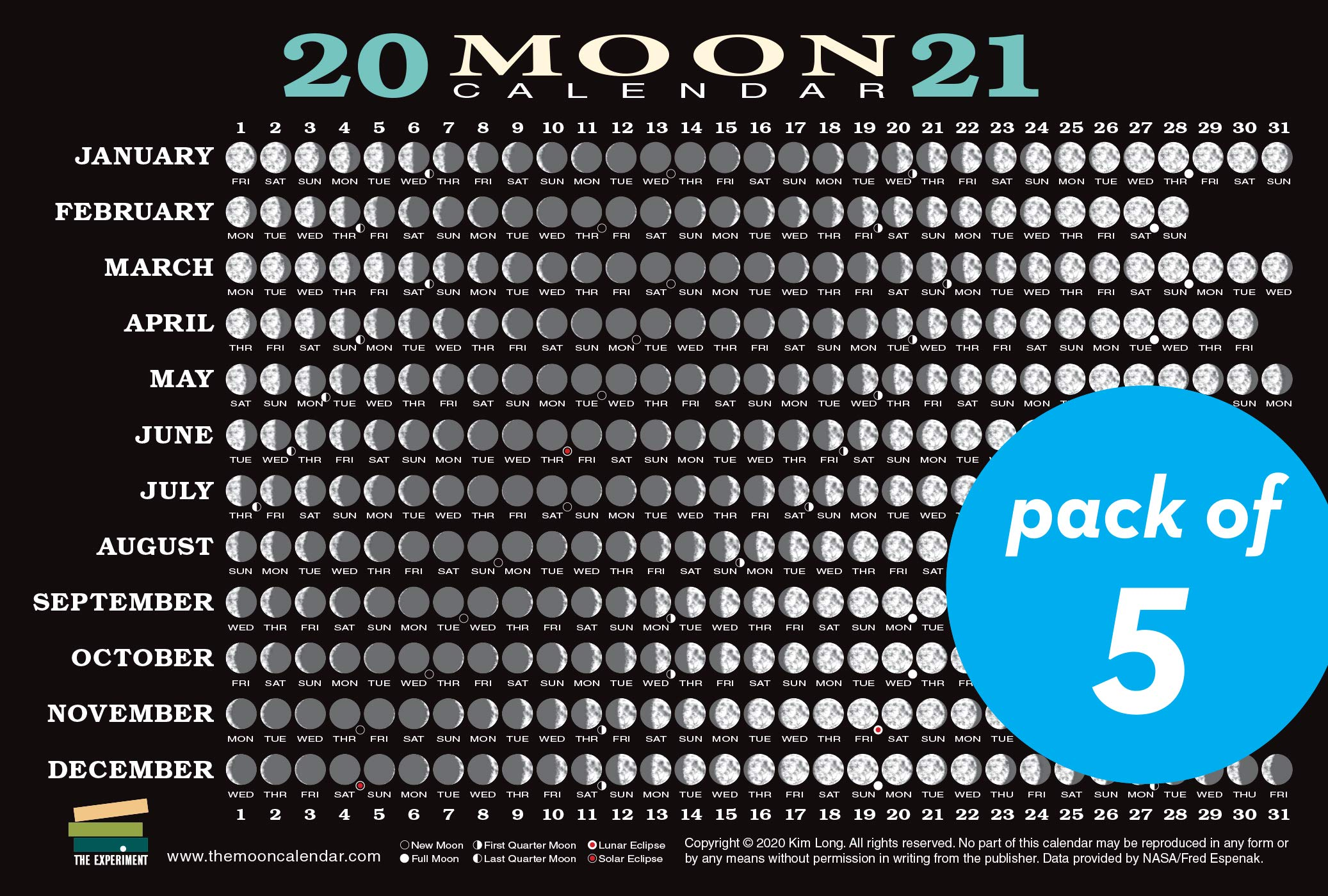 2021 Moon Calendar Card (5 pack): Lunar Phases, Eclipses, and More