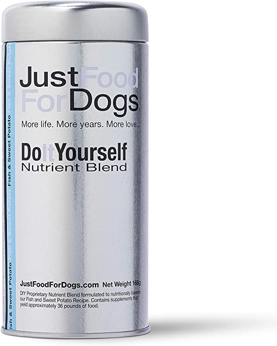 JustFoodForDogs DIY Human Quality Dog Food, Nutrient Blend Base Mix for Dogs - Fish and Sweet Potato Recipe (168 Grams)