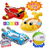 "Inflatable Boat Pool Cruisers Airplane, Race Car & Fish Gift Set Bundle with Bonus ""Matty's Toy Stop"" 16"" Beach Ball - 3 Pack"
