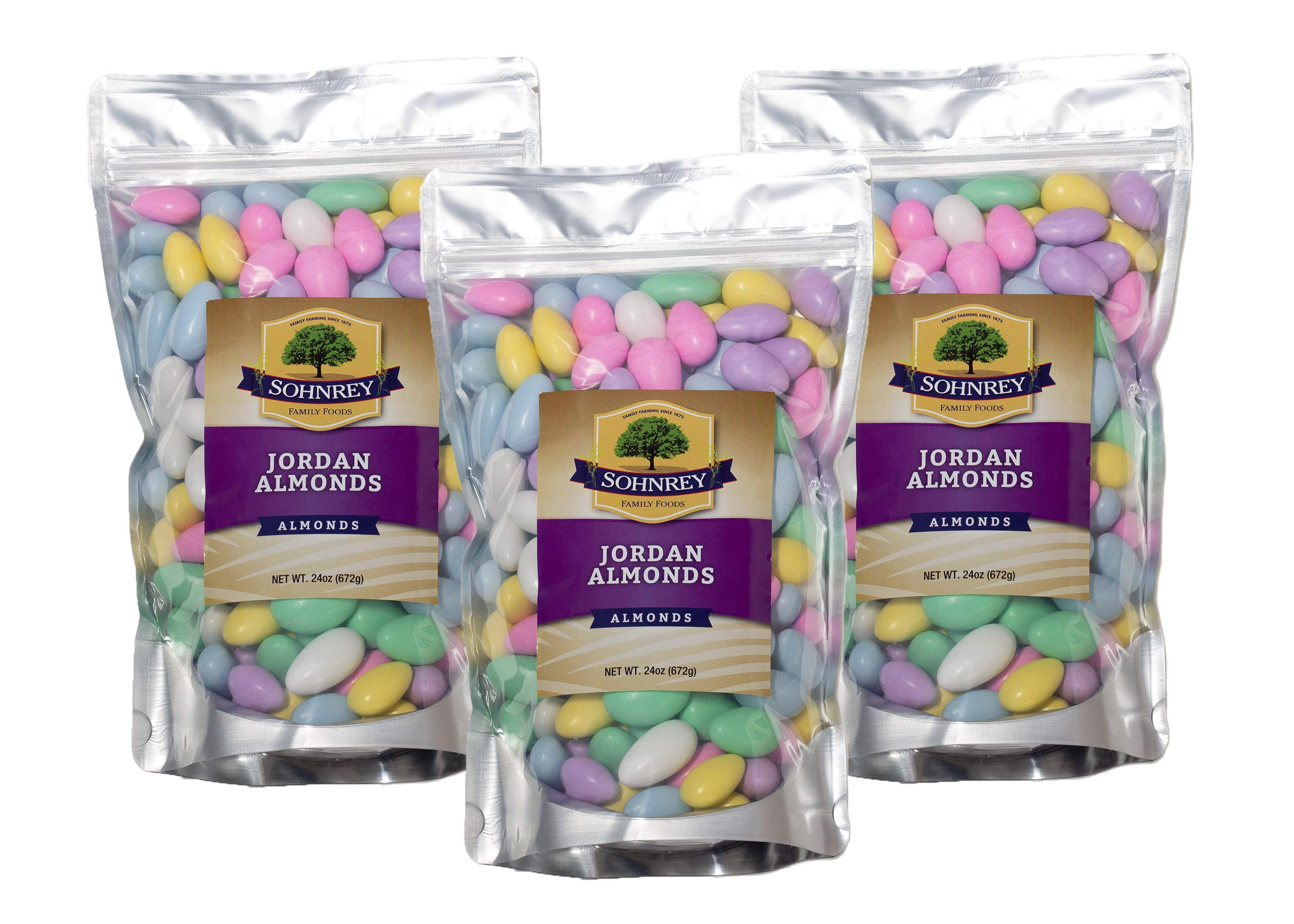 Jordan Almonds Wedding Holiday Party Favor Candies in Colorful Assorted Pastel Mix 3-Pack of 24 oz pouches by Sohnrey Family Foods by Sohnrey Family Foods