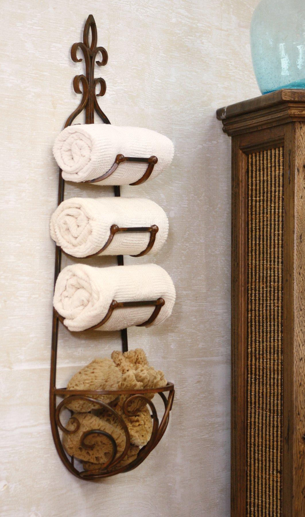 Kalalou CQ1024 Rustic Iron Hanging Towel Rack w/ Basket
