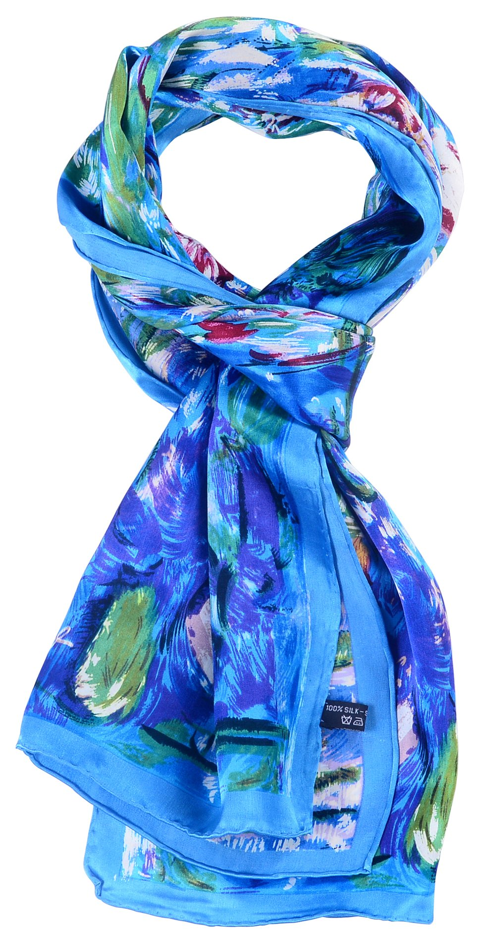Salutto Women 100% Silk Scarves PaintedLotus Pond Scarf