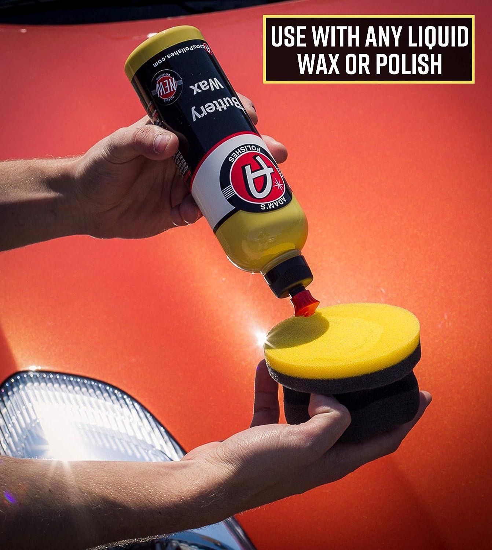 Adam's Yellow Hex Grip Car Wax Foam Applicator - Car Detailing Tool for Waxing Kit Glaze Sealant Liquid Paste Wax Ceramic Coating   Paint & Auto Part Accessories   Car Wash Kit Cleaning Supplies: Automotive