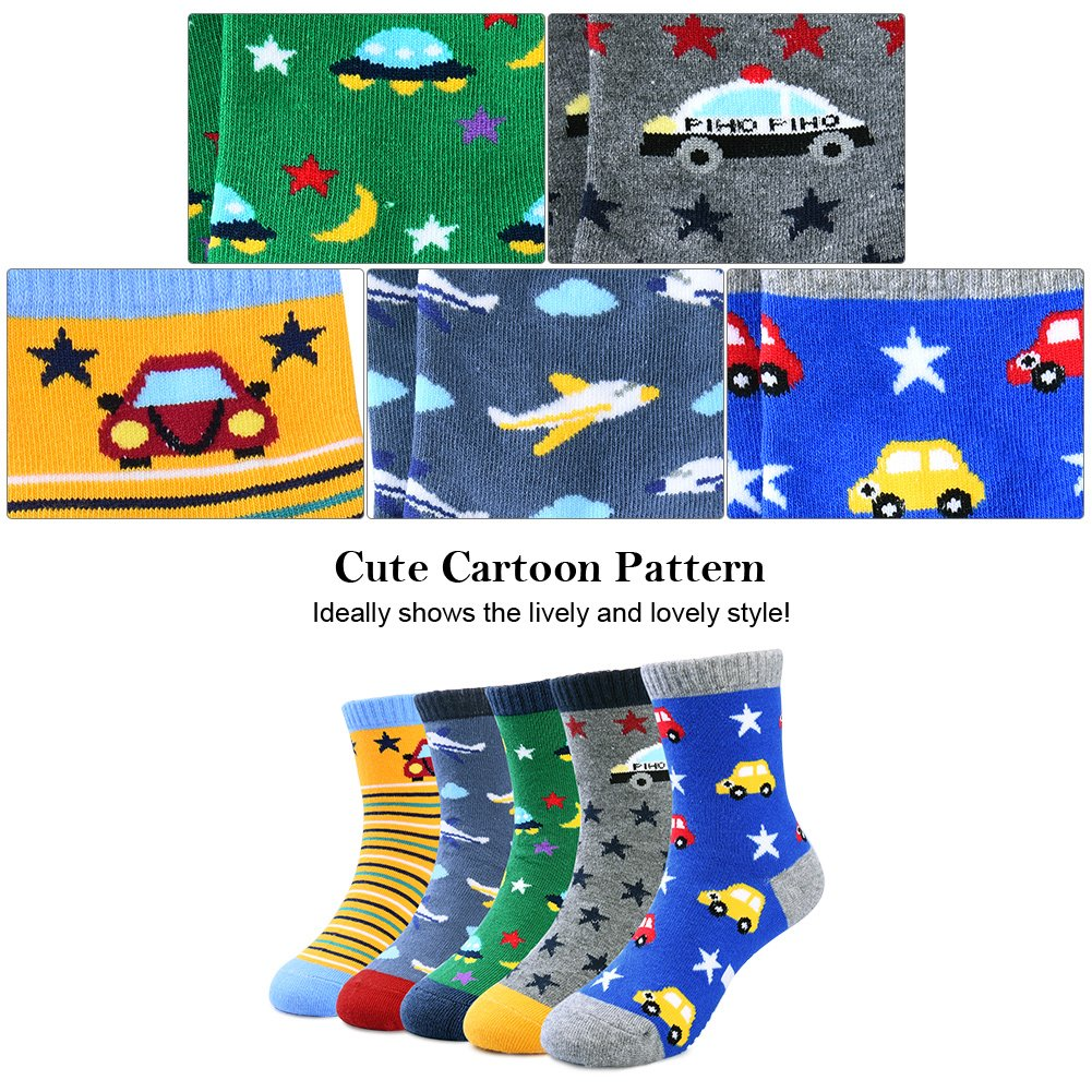 VBG VBIGER Toddler Boys Cotton Socks Little Boys Cartoon Pattern Socks 5 Pairs (3-5 Years)
