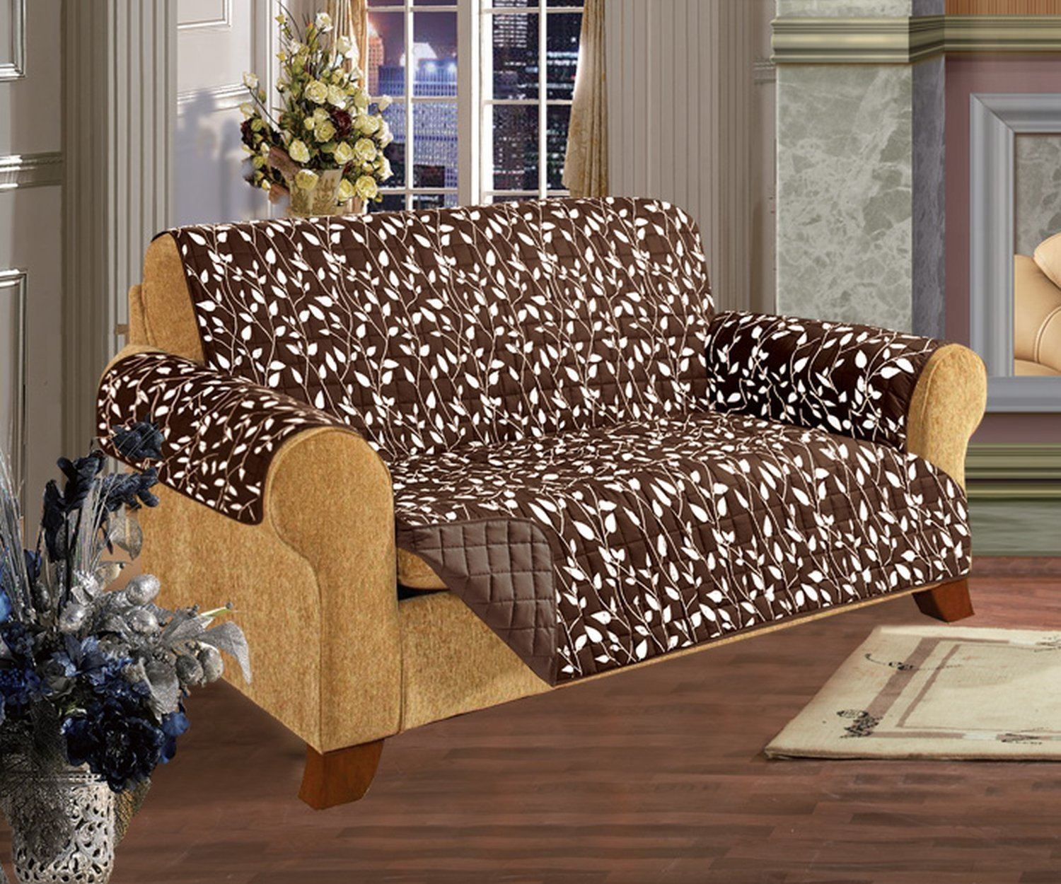 Quilted Pet Dog Children Kids Furniture Protector Slip Cover, Leaf Design Chocolate Love Seat