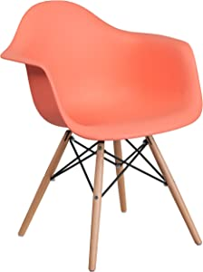 Flash Furniture Alonza Series Peach Plastic Chair with Wooden Legs