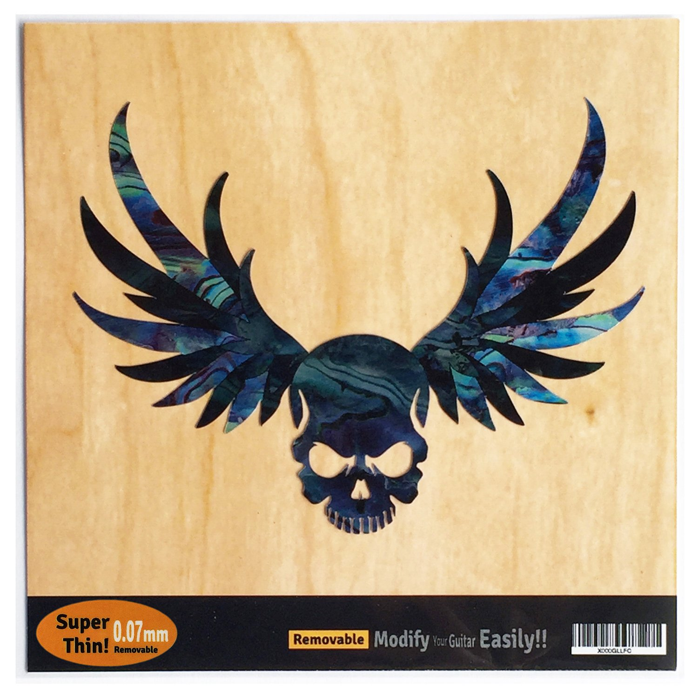 Winged Skull /Black Pearl Inlay Sticker Decal For Guitar & Bass jockomo B-137WS-BP