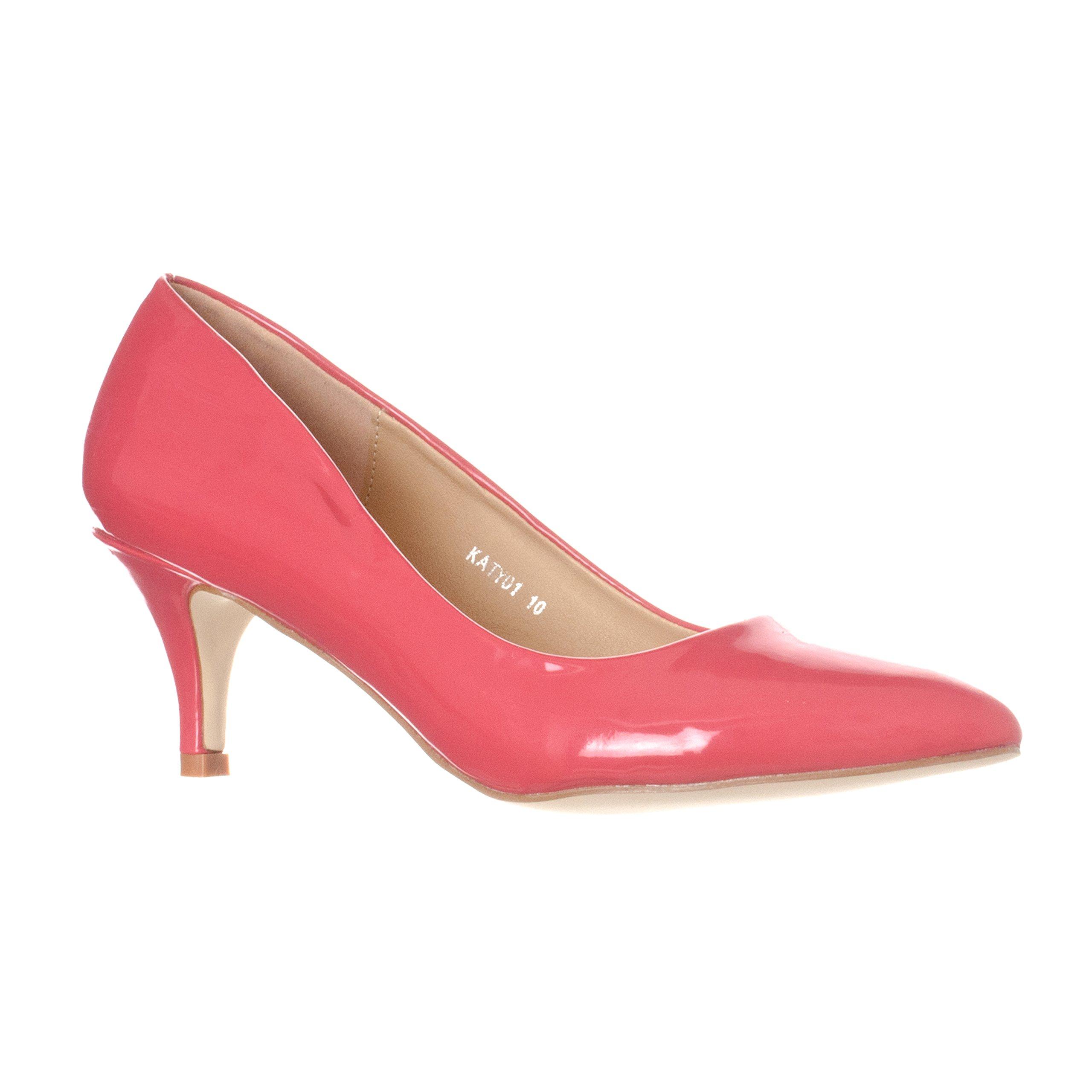 Riverberry Women's Katy Pointed, Closed Toe Low, Kitten Heel Pumps, Fuchsia Patent, 6.5
