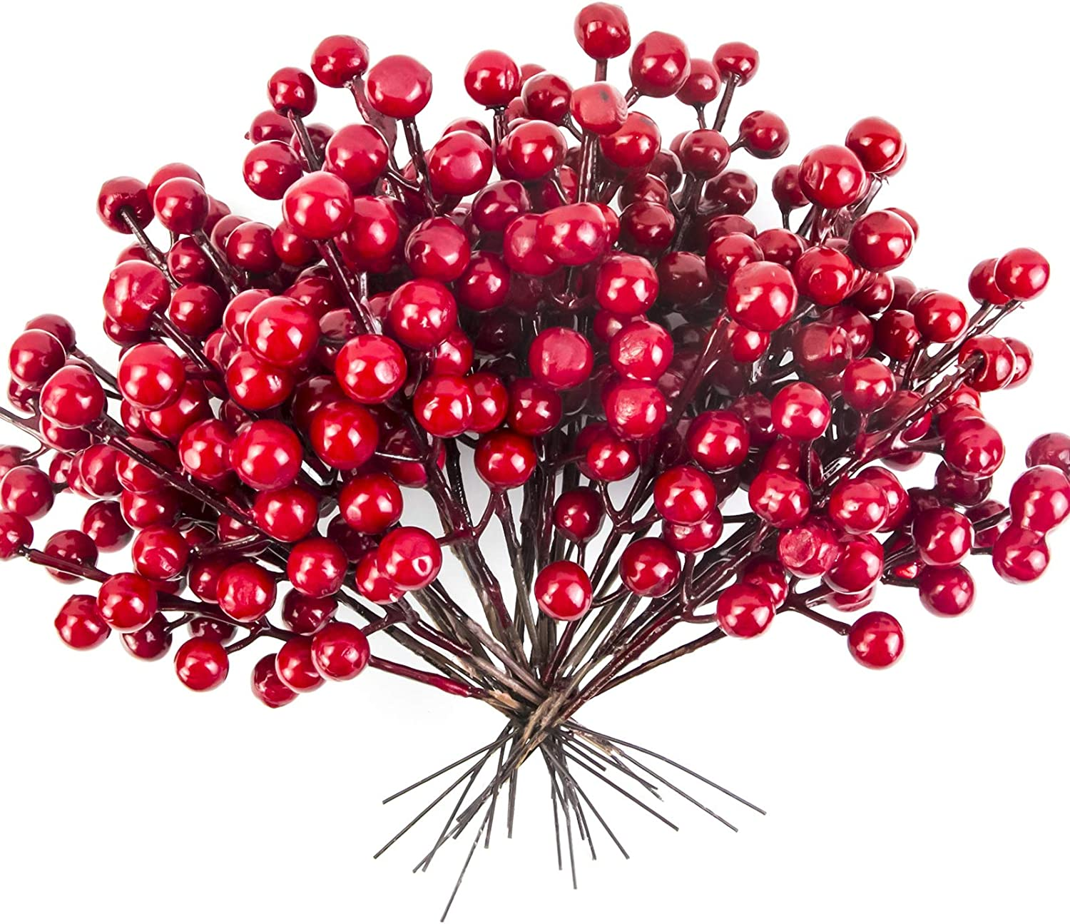 Tifarheart 30 Artificial Red Berry Stems Holly Christmas Berry Picks for DIY Wreath Tree Crafts Holiday and Home Decor