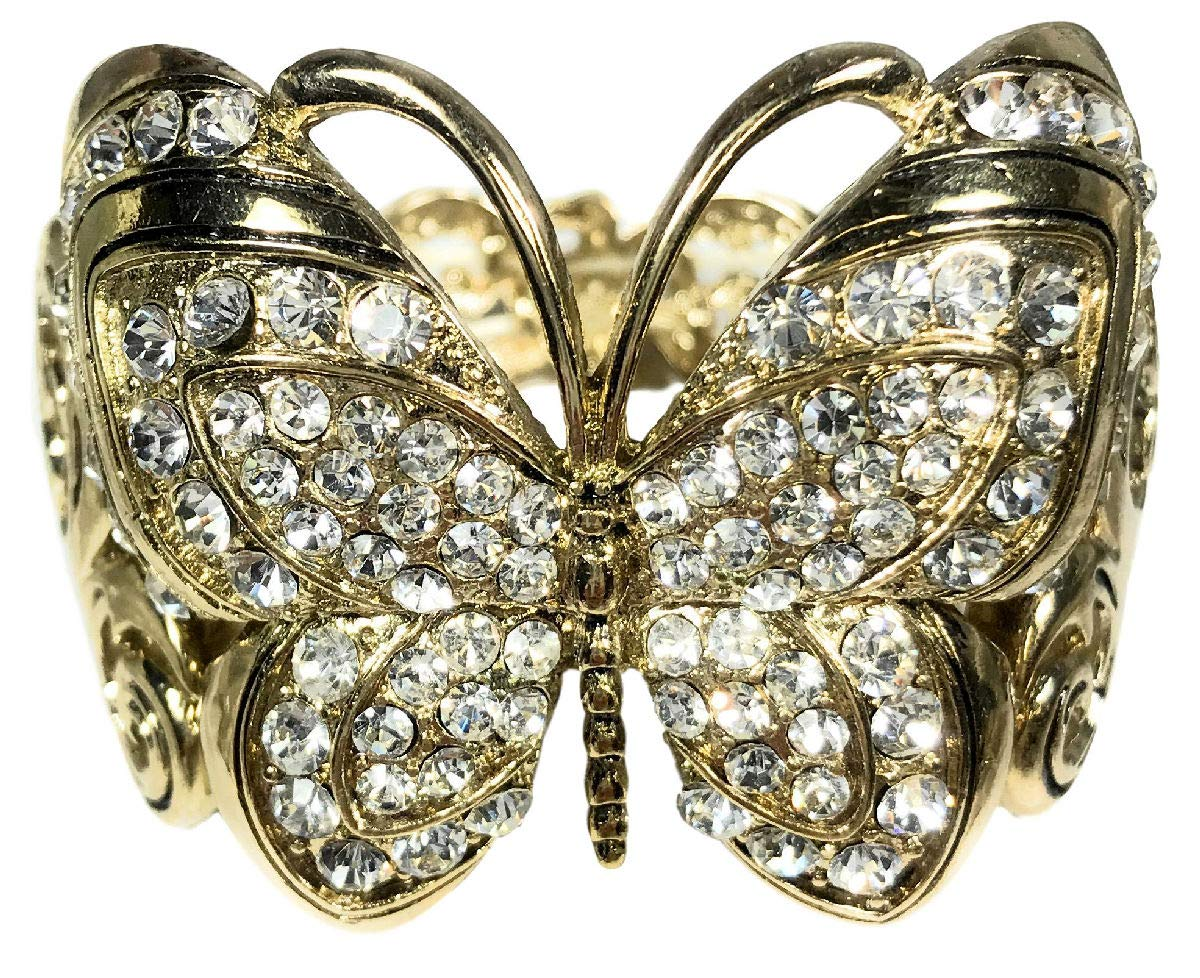 Dave's Collections Butterfly Statement Clear Rhinestone Goldtone Cuff Bangle Stretch Bracelet