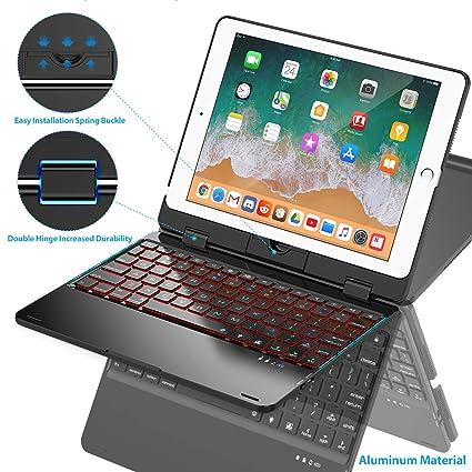 new concept 3859e adee6 Keyboard Case Compatible with iPad 2018 (6th Gen) / 2017 (5th Gen) / iPad  Pro 9.7 / iPad Air 2 & 1 | 360 Rotatable & Aluminum iPad Case with Keyboard  ...