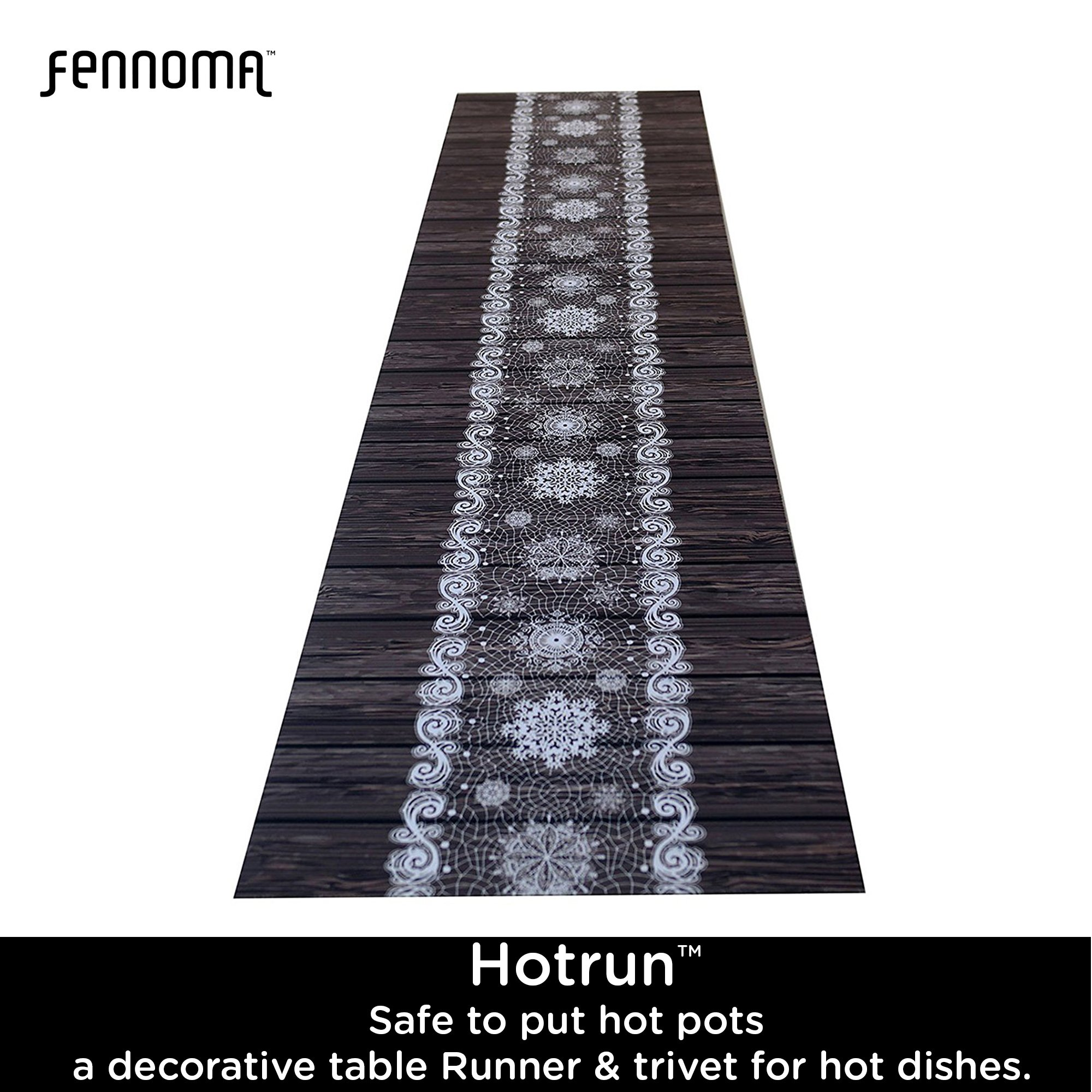 Hotrun Decorative Trivet and Kitchen Table Runners Handles Heat Up to 356F Anti Slip Hand Washable and Convenient for Hot Dishes and Pots (Wood) by Fennoma (Image #7)