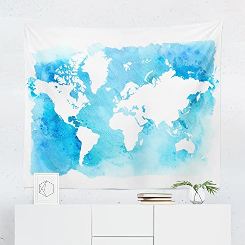 Amazon Com Watercolor World Map Tapestry Maps Global Blue Wall
